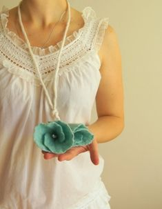 Turquoise Felted Necklace/Flower Belt Hand-Made Wool Accessory by AnnushkaArt
