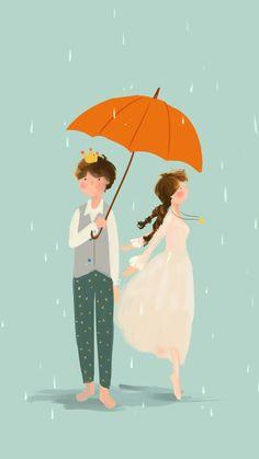 Isso me define! Couple Illustration, Art Et Illustration, Illustrations, Umbrella Art, Under My Umbrella, Wattpad Book Covers, Cute Couple Cartoon, Cute Anime Couples, Couple Art