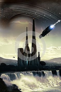 Spaceships flying close to an alien city into a landscape over gigantic waterfalls, close to a planet with rings.