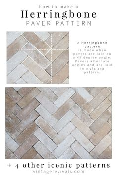 5 Iconic Paver Patterns You Can DIY - Installing pavers is a BIG DEAL! Check out these 5 iconic patterns and pick the one that is right f - Brick Pavers, Brick Flooring, Patio Flooring, Brick Tile Floor, Patio Tiles, Stone Tiles, Patio Pavé, Backyard Pavers, Outdoor Pavers
