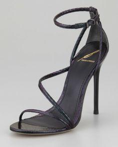 Brian Attwood Labrea Hologram Snakeskin Sandal in iridescent hologram black color block snakeskin, asymmetric design, acrylic 125mm (5 inch) stiletto heel