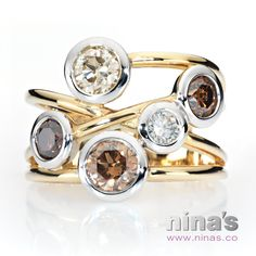 Bubbles of champagne! Two-tone 18k gold, tea-cup bezel set champagne & white diamond ring. #champagnediamond