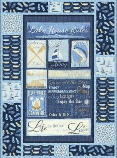 "Timeless Treasures ""LAKE HOUSE RULES"" Fabric PANEL NAUTICAL BLUE 100% Cotton NEW 
