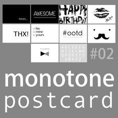白黒ポストカード10種作りました!無料ダウンロード