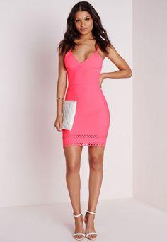 Laser Cut Hem Bodycon Dress Pink - Dresses - Bodycon Dresses - Missguided