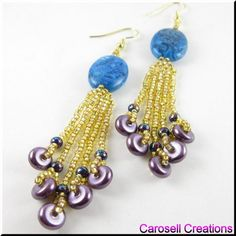 Turquoise Crazy Lace Agate and Purple Rondelles Oval Seed Beaded Dangling Earrings TAGS - Jewelry, Earrings, Dangle, crazy lace, agate, glass, pearl, rondelle, carosell creations, glass, seed beads, turquoise, purple, pierced, accessory, brick stitched, weaved, woven, original, unique, holiday gift idea, beaded, chandelier, gold, loops, bling, women