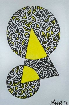 Yellow Circles and Triangle Original ACEO by ellemardesigns on Etsy, $8.00