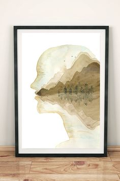 Human Head, Daydream, Vintage World Maps, How To Draw Hands, Poster, Creative, Landscape, Wall Art, Frame