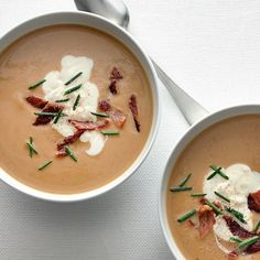 Chestnut Soup with Bacon and Chives / Charles Masters, food styling by Chelsea Zimmer Pasta Fusilli, Chestnut Recipes, Creamy Soup Recipes, Bacon, Salsa Dulce, Christmas Dinner Menu, Pureed Soup, Roasted Chestnuts, Lard