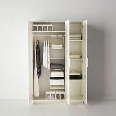 BRIMNES Wardrobe with 3 doors, white, cm. That's why a safety fitting is included so that you can attach the wardrobe to the wall. Ikea Brimnes Wardrobe, Ikea Wardrobe Storage, Portable Wardrobe Closet, Wardrobe Organisation, Diy Wardrobe, Small Wardrobe, Wardrobe Design, Locker Storage, White Wardrobe