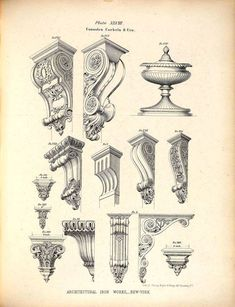Designs for cast iron consoles, corbels and an urn: