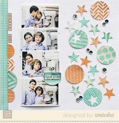 Trend: Aqua and Orange. Scrapbook page by Waleska Neri. Loving all of it.