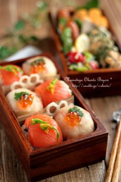 Japanese Temari sushi. How fun would it be to give a bento box of sushi to my honey for his lunch for work?