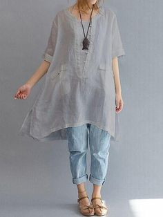 Women Short Sleeve Loose Asymmetric Blouses - Banggood Mobile