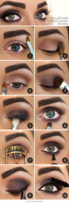 Navy & Purple Matte Smokey Shadow tutorial. Night Out Makeup.