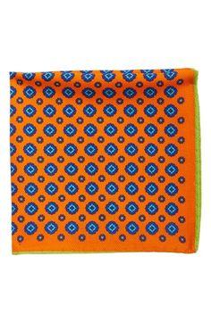 Ted Baker London Medallion Print Wool & Silk Pocket Square