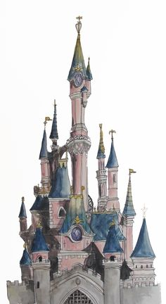 Architectural Illustration using Pen and Watercolour of the Disneyland Paris Sleeping Beauty Castle on A5