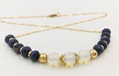 Sapphire Gold Filled Chain Necklace Opalite Jewelry by MorMalas
