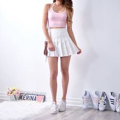 White and pink Cute Skirt Outfits, Cute Comfy Outfits, Basic Outfits, Cute Skirts, Girly Outfits, Cute Summer Outfits, Korean Outfits, Classy Outfits, Pretty Outfits