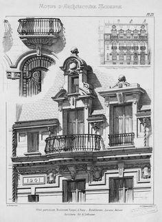 Motifs d'architecture moderne | Noe, L. Neoclassical Architecture, Classic Architecture, Architecture Drawings, Gothic Architecture, Architecture Plan, Beautiful Architecture, Architecture Details, Building Sketch, Vintage House Plans