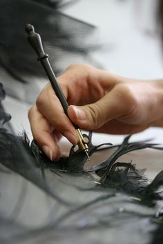 Fashion Atelier - haute couture feather embellishments in the making; sewing; fashion studio // Cecile Henri
