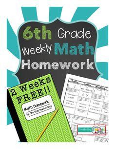 FREE 6th Grade Common Core Spiral Math Homework! - 2 Weeks FREE!!!  More free #math ideas here: https://www.teacherspayteachers.com/Store/Mathfilefoldergames/Price-Range/Free