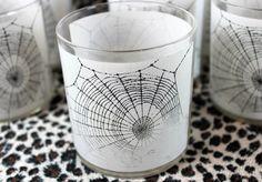 Spooky Spider Web Rocks Glasses Set of 6 by BumblePugVintage
