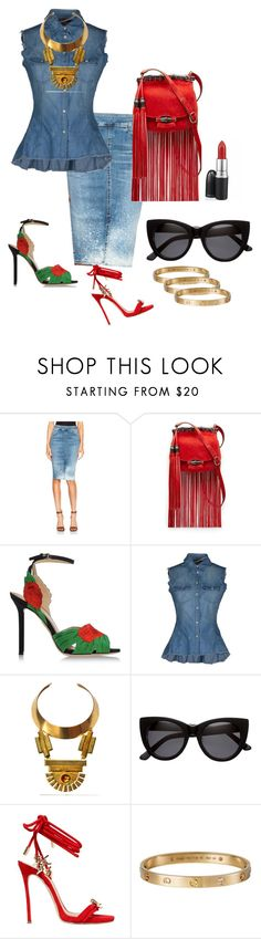 """""""Double Denim"""" by mrscapri ❤ liked on Polyvore featuring Citizens of Humanity, Gucci, Charlotte Olympia, Dondup, Bita Pourtavoosi, H&M, Dsquared2 and Cartier"""