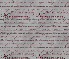 Nevermore in Blood Red ~ Edgar Allan Poe fabric by peacoquettedesigns on Spoonflower - custom fabric