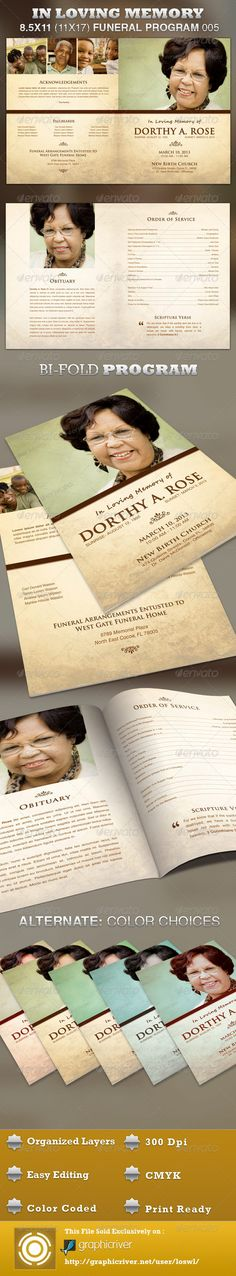In Loving Memory Funeral Program Template 005 - $6.00