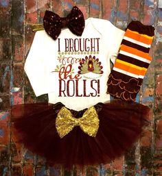 Excited to share this item from my shop: Thanksgiving Outfit For Girls I brought The Rolls Fall Baby Bodysuits Thanksgiving Shirts Thanksgiving Day Turkey Day Shirts Baby Girl - September 29 2019 at Girls Fall Outfits, Girls Christmas Outfits, Baby Boy Outfits, Baby Girl Thanksgiving Outfit, Baby Girl Fall, Baby Girl Shirts, Baby Girl Dresses, Cheap Baby Clothes, Frocks For Girls