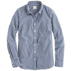 J.Crew Petite perfect shirt in mini-gingham ($50) ❤ liked on Polyvore featuring tops, shirts, button down, button ups, j crew, petite long sleeve tops, slim fit button down shirts, blue shirt, blue button up shirt and blue top