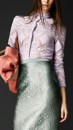 Burberry Prorsum S/S14 English Lace Fitted Shirt