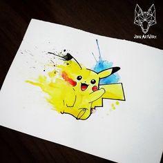 #pikachu #pokemon #watercolor #aquarela #john_artwork #johnartwork #tattoo #tattooideas #tattootips #drawing #artwork #ink