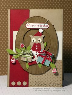Stampin Up! My Way: i-spotlight - Santa/Elf Owl Merry Christmas, Christmas Owls, Christmas Cards To Make, Handmade Christmas, Holiday Cards, Christmas Punch, Owl Crafts, Xmas Crafts, Owl Punch Cards