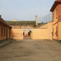 Prison yard in the Terezin concentration camp. Visit our website and book the half day trip with our agency !