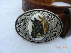 VINTAGE Brown Leather Sz 36 WESTERN Cowboy Rodeo Silver Horse Buckle