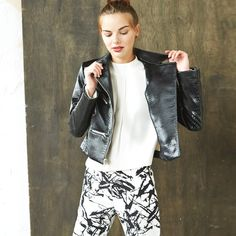 Black and white and chic all over. Mix edgy and polished in a monochromatic ensemble.