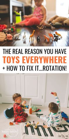 Toy clutter is adding to your stress, making your kids bored, hurting your kids' ability to play independently, and more. But you don't need more toy organization, and you don't need the perfect toy storage hacks. You need a toy rotation system. Here's a step-by-step guide for how to organize toys with a toy rotation system + FREE printables to help you get started. #toystorage #clutter #clutterfree #declutter #decluttering #kids #parentingtips #parentinghacks #playroomorganization
