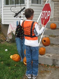 Crossing guard costume is cute, but the TIRE TREADS make it hysterical!  -Best Homemade Halloween Costumes