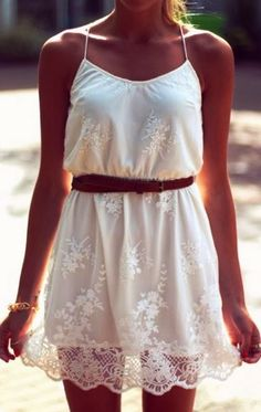 Amazing Crochet White Belted Dress