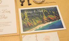 Letterpress Hawaii destination wedding invitation by Sparkvites #letterpress #vintage #hawaii #wedding