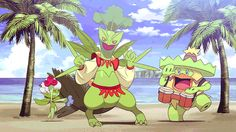 Roserade, Sceptile, and Ludicolo