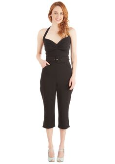 Major Moxie Jumpsuit. Youll guarantee a lasting impression when you wear this retro jumpsuit for a night out with the girls! #black #modcloth