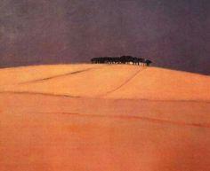 Daniel Aeberli peintre suisse. Lieu sacré. Orange vibrant de ce paysage de Toscane.