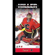 "Steiner Sports Calgary Flames Jonas Hiller 10"" x 20"" Player Profile Wall Art, Multicolor"