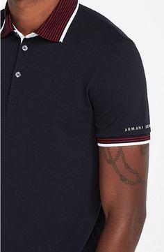 5c55a77bc Stripe Collar Polo - Polos - Mens - Armani Exchange Acessórios Masculinos