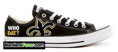 Converse Low Black New Orleans Saints  FREE by BandanaFeverShoes- WHY ARE THESE NOT IN MY CLOSET?!?!
