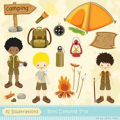 Boys Camping Trip digital clipart, scrapbooking, web design, card design, birthday party invitations - HGClpR008