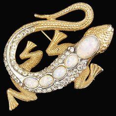 MB Boucher Gold Opal Backed Lizard Pin   eBay
